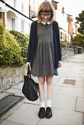 Toni Caroline - Asos Grey Dress, Topshop Navy Cardigan, Dr. Martens Black Dms - Back to School