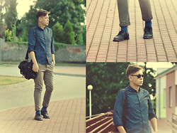 Kamil Łukasz Ignacy - H&M Shoes, No Name Pants, Frontrowshop Sunglasses, H&M Shirt, Reserved Bag - Dark Blue