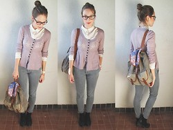 Fanni T. - Gant Glasses, Mango Cardigan, H&M White Shirt, Zara Boyfriend's Jeans, Diy Backpack, F&F Ankle Boots - DIY backpack and new glasses