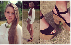 Klára P. - Topshop Wedges, H&M Beige Shorts, Topshop White Transparent Top, Six Gold Collar - LUSH
