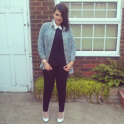 Kiran A - Dune White Heels, Missguided Denim Shirt - I was trying to go for a retro look