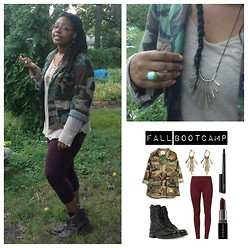 Sedia Jones - Lucky Brand Metal Necklace, Lucky Brand Bohemian Ring, H&M Leggings, Bakers Camo Combat Boots, Thrift Store Camo Blazer - Fall Bootcamp