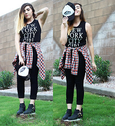 Esmirna Tapia - Brandy Melville Usa Nyc Tank, Hollister Plaid Button Up, Pacsun Black Booties - OFF THE WALL