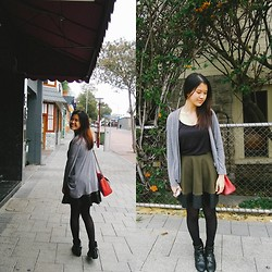 Sue Chung - Grey Cardigan, Black Singlet, Ally Army Green Skirt With Leather, Target Black Bootss - Army green works