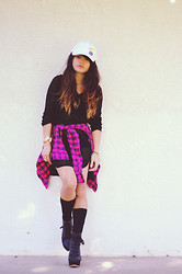 Faye Danielle - Oasap High Low Sweater, Hollister Pink Plaid Shirt, Shoedazzle Calandra - Total Edge