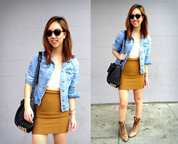 Christine Y - Alexander Wang Rocco Handbag, H&M Denim Jacket, America Riding Skirt, Urban Outfitters Crop Top, Urban Outfitters Sunglasses - Casual Outing for Bellinis