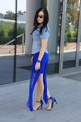 Magda M. - Dress Monashe.Pl, Second Hand Jeans Shirt, Sequinshoes Heels, Solar Bracelet, Centro Glasses - Blue end of summer