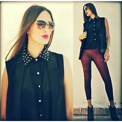Amina Allam - Tom Ford Sunnies, H&M Suit Vest, Freya Studded Chiffon Shirt, Choies Burgundy Leggings, Shiekh Studded Booties - Thursday in black & burgundy