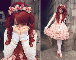 Elodie De Frise - Baby The Stars Shine Bright Floral Jsk (Idk Name), Liz Lisa Pink Shoes, Taobao Lace Blouse, Gothic Lolita Wigs Princess Collection   Ariel, Handmade Floral Headdress - I'm a sweet disaster ♫