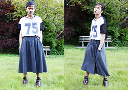 Joseff Lopez (Seffinisto) - Topshop Mesh 75 Jersey Top, Topshop Adonis Oxford Cut Out Boots, Thrifted Gray Full Skirt (For Men) - Mesh #75