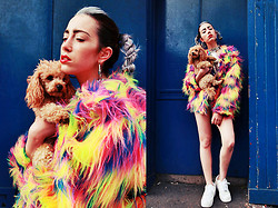 Kirstin Gribbin - Isolated Heroes Cyber Barbie Fluro Mix Coat, Isolated Heroes Dollar Print High Neck Leotard, Primark Eye Earings, Nike Air Force White - Cyber Barbie with Pooch
