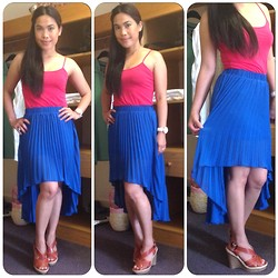 Christine Dior (Discover Fashion Author) - Primark Pleated Hem Skirt, Gap Pink Vest, Kurt Geiger Wedges - Pink & Blue
