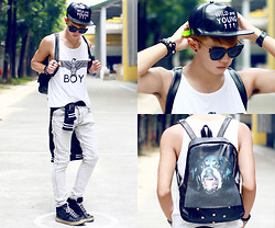 Jaye Santos - @Androgynemanila Snapback, Boy London Tanks, Black Jack Washed Out, Givenchy Rottweiler - Wild and Young ✝ ✝ ✝