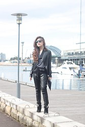 Silvia Siantar - New Look Leather Jacket, Sportsgirl Leather Trackpants, Ash Footwear Wedge Sneakers - Daylight