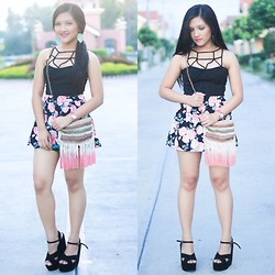 Glaiza Homez - People Are Top, Forever 21 Skorts, Accessorize Bag, Anastacia Wedge, Forever 21 Earrings - FLOWERS & LEAVES
