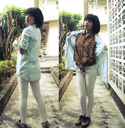 Bernadette Azcarraga - Giordano Chambray Top, Gift From Aunt Leopard Top, Guess? Flatform Leopard Sneakers - Sneak Attack!