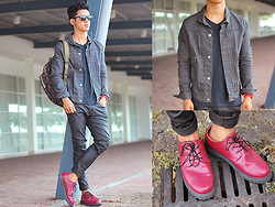 David Guison - Levi's® Jean Jacket, Von Dutch Sweatshirt, Kipling Bag, Wade Shoes - Blood Rushing