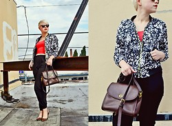 Catie Beatty - Oasap Jacket, Coach Classic Purse, American Deadstock Sunglasses - Red & black