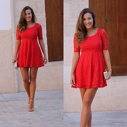 TAMARA M - Mango Clutch, Zara Sandals, Zlz Dress - Red Lace Dress!