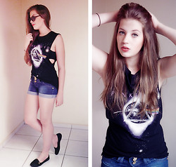 Juliana Fachini - Choies Pink Floyd Tank, Jeans Short, Black Slipper, Renner Vintage Sunglasses - 18. The Dark Side of the Moon
