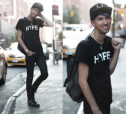 Bobby Raffin - Lookbook Hype Shirt, H&M Faux Leather Pants, Versace Buckled Shoes, Rook Black Cap - NYFW Day 1