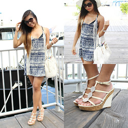 Ron Barba - Urban Outfitters Blue Tribal Dress, Aldo White Floral Pattern Leather Bag, Bakers White Beach Wedges - Set Sail