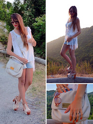 D De - Pull & Bear Top, Silvian Heach Lacevest, Marc By Jacobs Bag, Zara Shorts, Jeffrey Campbell Lita, Valentino Sunglasses - Show must go on