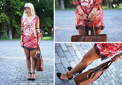 Fanny Larsson - Choies Printed Dress, Michael Kors Jet Set Travel Tote, Zara Heels, Marc By Jacobs Watch Blade Gold, Marc By Jacobs Bracelet, Ray Ban Wayfarers - Print it out