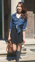 Livy W - Black Market Thrift, Sirens Button Up, Brandy Melville Usa Cut Out Dress, Call It Spring Tan Bag, Ardenes Knee Highs, Me/ Diy Evil Eye Necklace - September Weather