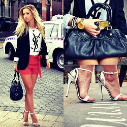 Anna Whyte - Zara Blazer, Yves Saint Laurent T Shirt, Forevernew Shorts, Marc By Jacobs Groove Q, Mia Heels, Micheal Kors Watch - A city girl!