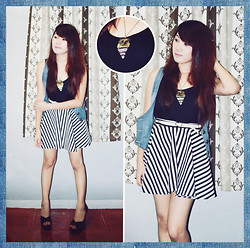 Michi Tomi - Forever 21 Crop Top, Forever 21 Leather Belt, Striped Skirt - Stripes and Denim