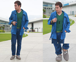 Vergil Lloyd Chua - Giorgio Armani Blue Coat, Giordano Green Shirt, Forever 21 Blue Full Length Pants, Topman Chain Bracelet, Aldo Bead Bracelets, Sm Accessories Green Belt, Wade Shoes White Laced Gray Loafers, Cravemore Acrylic Necklace - TRANQUILITY
