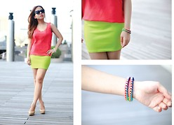 Fhenny Z - Shop Style Frontier Pink Top, Shop Style Frontier Neon Skirt, Aldo Nude Pumps, Shop Style Frontier Colorful Bracelet, Ray Ban Cat Eye Sunnies - Fluorescent adolescent