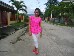 Trish Caning - Circo Neon Pink Peplum Top, Gap White Pants, Solemate Neon Pink Flats - Forever and almost always