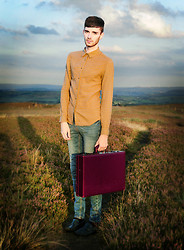 Matt Fielding - New Look Gold Check Shirt, Topman Blue Skinny Jeans, Vintage Maroon Briefcase, New Look Teal Loafers - Lord of the Flies