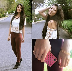 Rhea Hsu - Burgundy Necklace, Cotton On Burgundy Leggings, Marks & Spencer Black Ankle Boots, Ximen Ding, Taiwan White Crotchet Shirt, Gold Cross Ring, Gold Bangles, Ximen Ding, Taiwan Gold Studded Iphone Cover - Burgundy