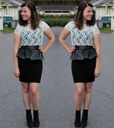 Oona P - H&M Lace Shirt, Zara Peplum Belt, H&M Skirt - The sun will never go down