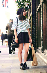 Van Anh L. - New Look Beanie, Vietnam Oversized Striped Shirt, Miss Selfridge Cut Out Shorts, Zara Cut Out Boots - London Shopping Spree