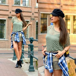 Tamara Chloe - La Strada Booties, America Today Shirt, H&M Captain's Hat, H&M Bag, Carhartt Skirt - Camouflage Crush