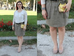 Rebel Takipte - Zara Nude Shoes, Nine West Yellow Bag - Military Look