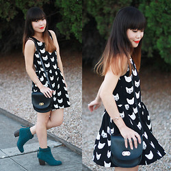 Toshiko S. - H&M Cat Print Dress, Lauren Merkin Stevie Bag, O'neill Teal Suede Booties - All Day Everyday