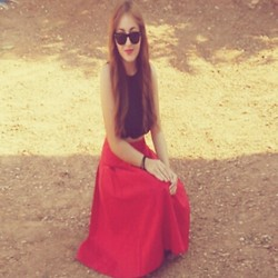 Maria Pasiali - Maria Paris Red Vintage Skirt (Made By Me), Maria Paris Crop Black Top (By Me), Ray Ban Sunglasses - In Love..