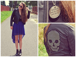 Klára P. - Humanic Black Shoes, H&M Blue Skirt, H&M Leather Jacket, Topshop Sunglasses, Necklace, H&M Black Vest - Don't dream your life. Live your dreams.