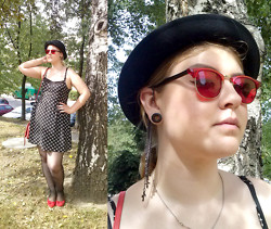 KatyAnna G - Divided Bowler Hat, Second Hand Red Sunglasses, Divided Cross Pattern Dress, Graceland Flat Shoes - Last day of summer