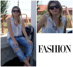 Irenn# LL - H&M Necklace, Ray Ban Sunglasses, H&M Broken Jeans, H&M Blouse - Aa splash of color#