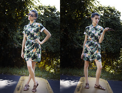 Masha Sardari - Thrifted Hawaiian Wrap Dress, Steve Madden Moses Sandals, Urban Outfitters Printed Sunglasses - If we went to Hawaii