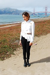 Estefania Pino - Love High Waisted Pants, Gypsy Warrior Cutout Shirt, Dr. Martens Boots - Unfurl as Lotus Flowers