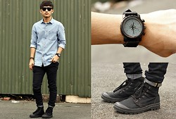 Stephen Garcia - Palladium Boots, Topman Denim Button Down, Cotton On Smart Watch - Wall Street