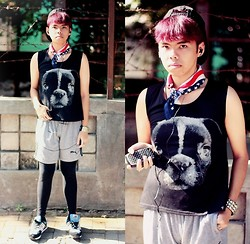 Ersa Adiprasetya - Aupie Dog Head Sleeveless T Shirt, New Balance 574 - K-pop Hip Hop