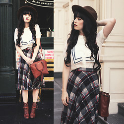 Rachel-Marie Iwanyszyn - Hat, Old Shirt, Vintage Plaid Skirt, Wolverine Boots, Coach Bag, Irrisistible Me Extensions - VINTAGE PLAID.